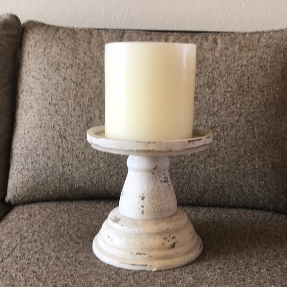 Pottery Barn Large Candle with Chippy White Pillar